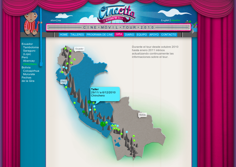 Screenshot of the CineCita website in spanish, showing a map with some dots that stand for tourstops. Over one tourstop a speech bubble is visible displaying the date and name of the stop.