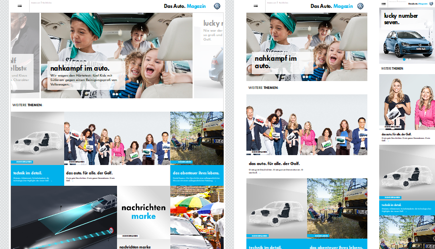 Screenshot of the Volkswagen Das Auto. website in 3 responsive steps