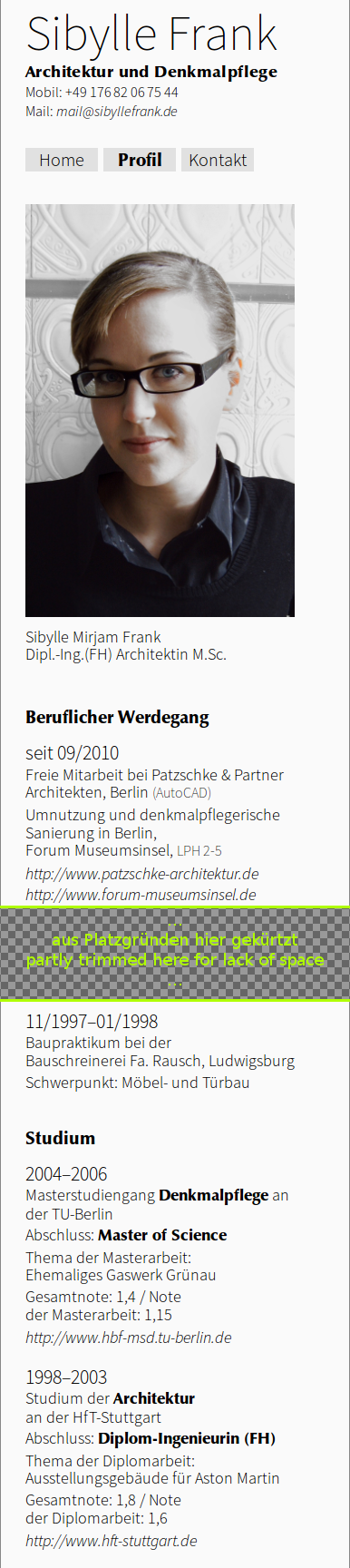 Small view of the website of Sibylle Frank