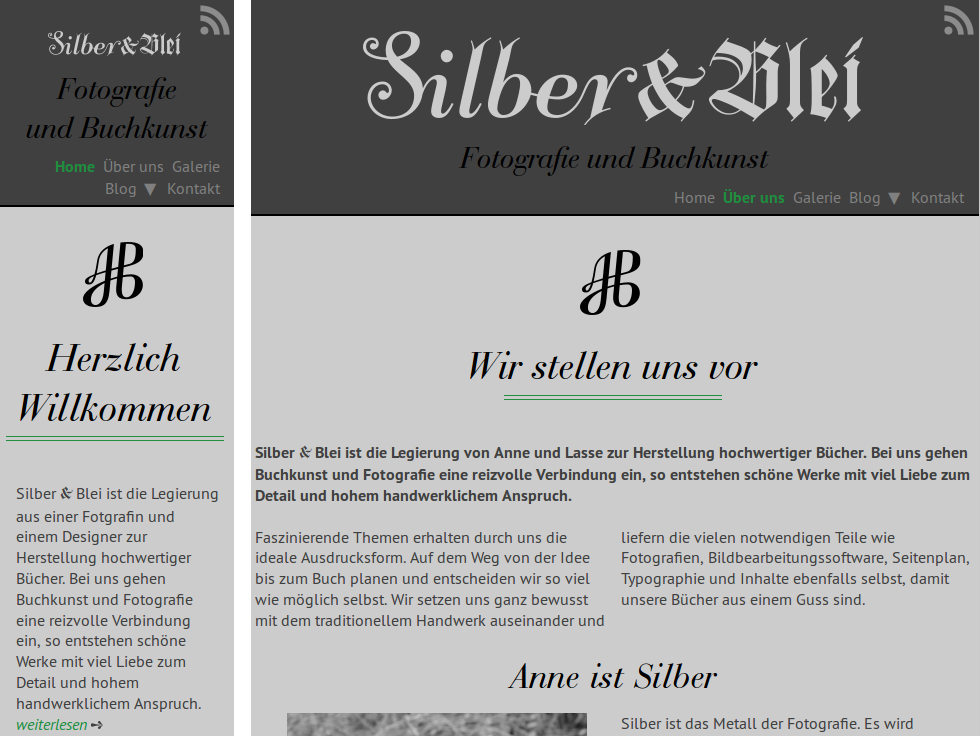 Screenshot of silber-und-blei.com 2 responsive sizes
